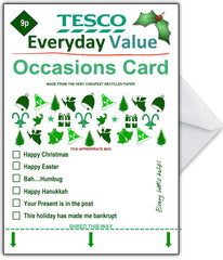 Supermarket Spoof Christmas Card - TESCO Everyday Value - That Card Shop