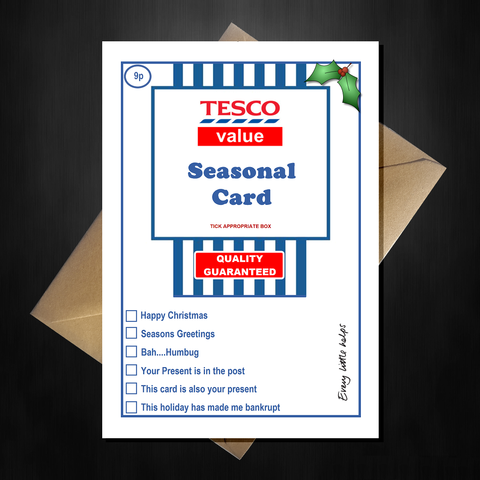 Funny Tesco Value Christmas Card - Supermarket Spoof Xmas