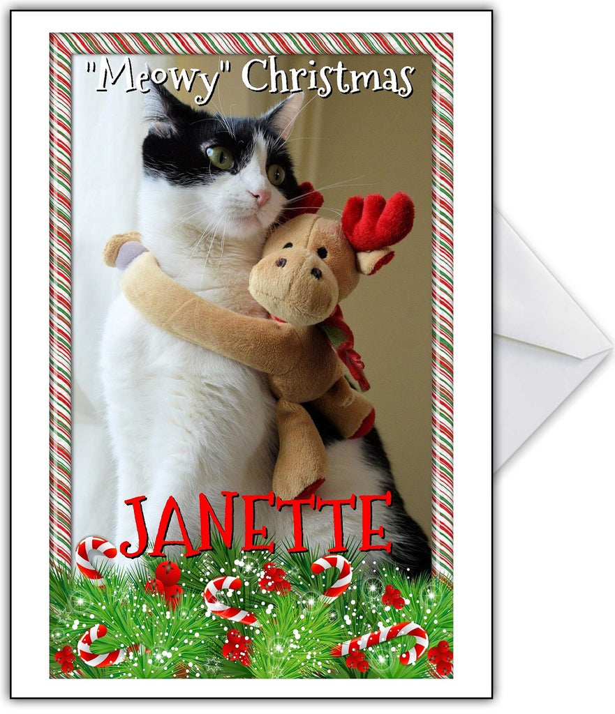 "Funny Cute Cat Christmas Card ""Meowy Xmas!"" - That Card Shop"