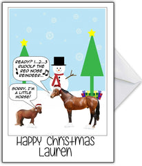 "Photo Humour Christmas Card ""Sorry, I'm a little horse!"" - That Card Shop"
