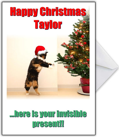 """Here is Your Invisible Present!"" Cute Cat Christmas Card"