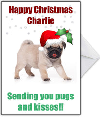 "Cute Pug Xmas Card - ""Pugs & Kisses at Christmas!"" - That Card Shop"
