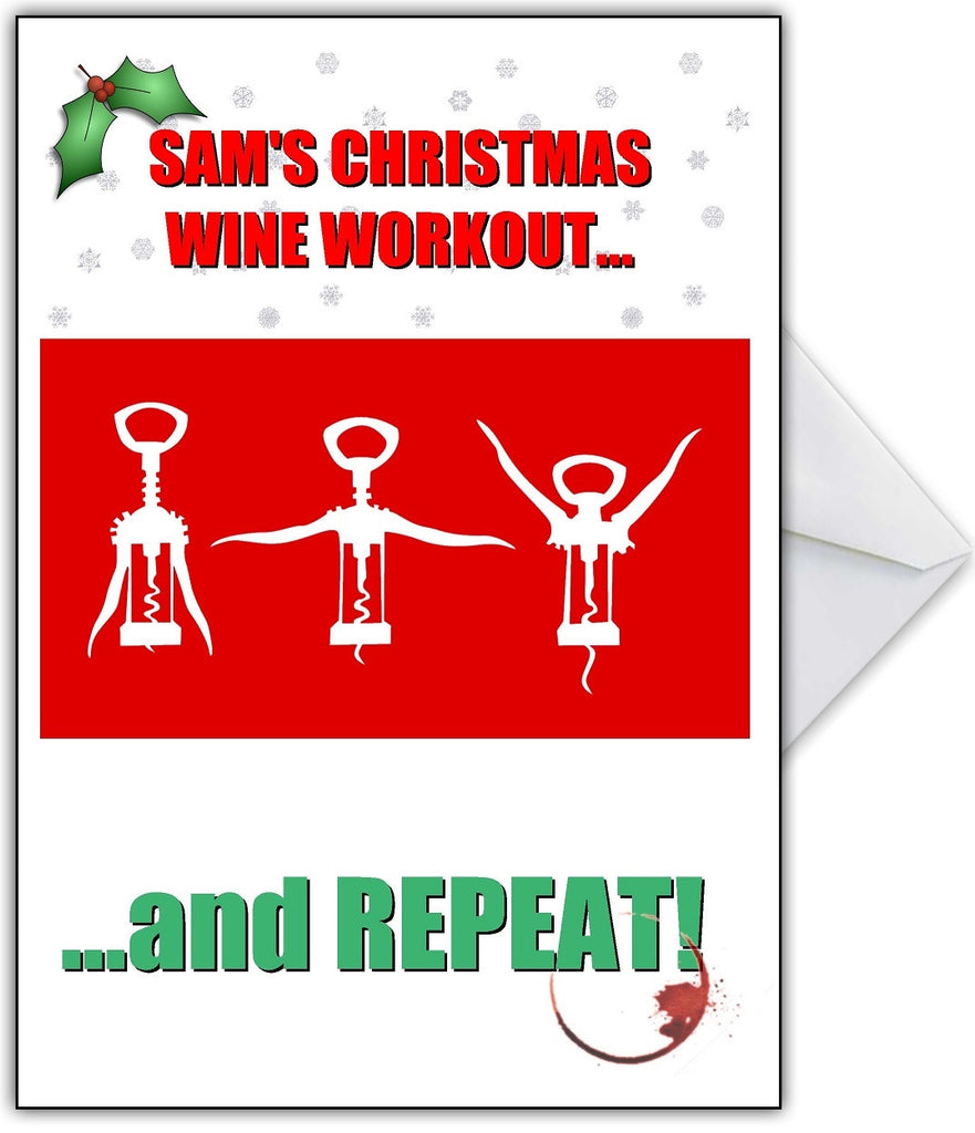 Funny 'Wine Aerobics' Christmas Card - That Card Shop