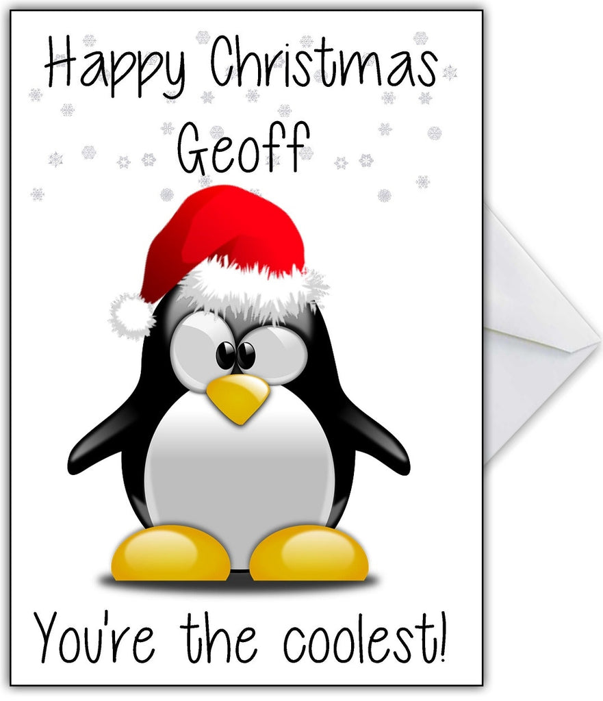 "Cute Penguin Christmas Card ""You're the coolest!"" - That Card Shop"