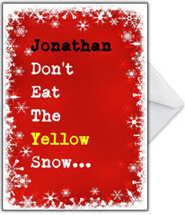 "Funny Christmas Card ""Don't eat the yellow snow!"" - That Card Shop"