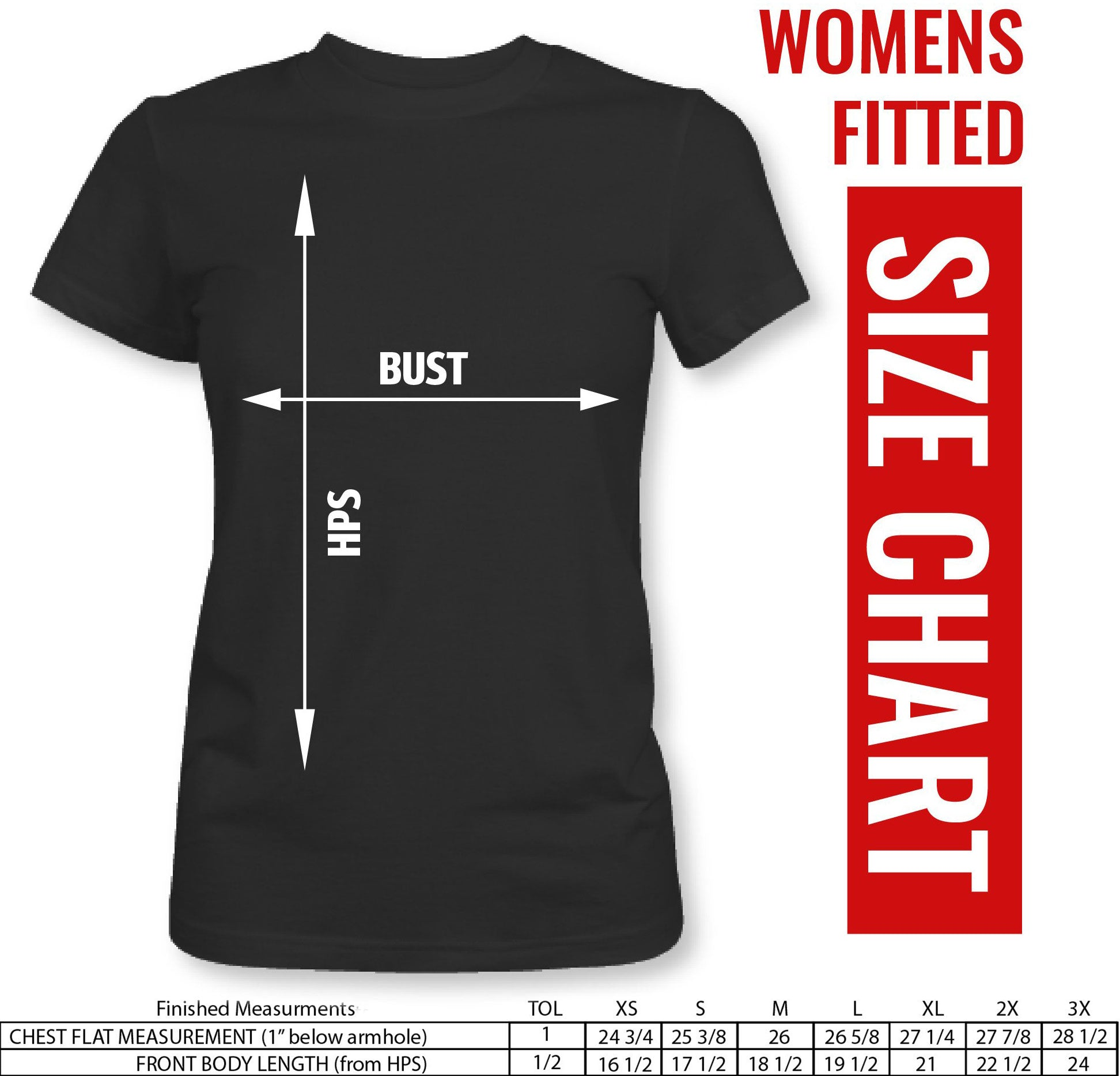Fitted Size Chart