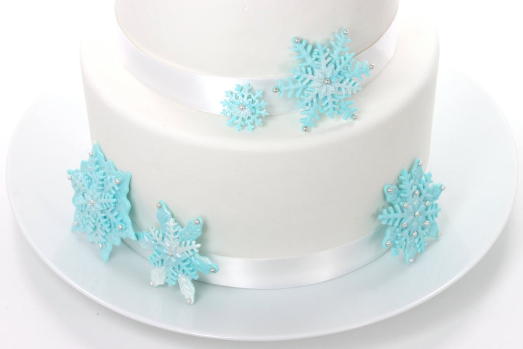 Snowflake Sugar Paste Wedding Cake Topper Iridescent Ice Blue by ...