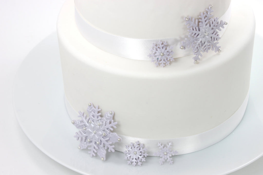 Silver Iridescent Sugar Paste Snowflake Wedding Cake Topper by lil ...