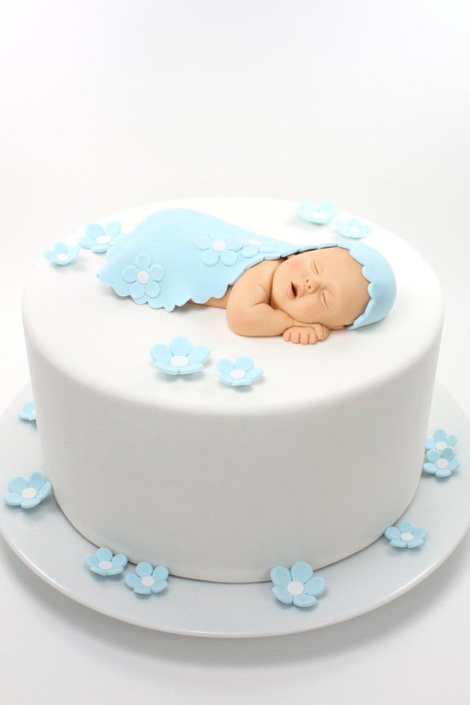 ... Baby Boy Sugar Paste Cake Topper With Baby Blue Blanket U0026 Flowers For Baby  Shower By ...