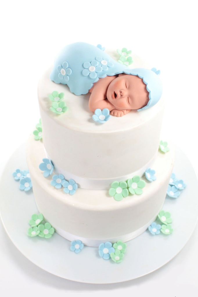 Baby Cake Topper Boy with Baby Blue Blanket and Blue Mint Green