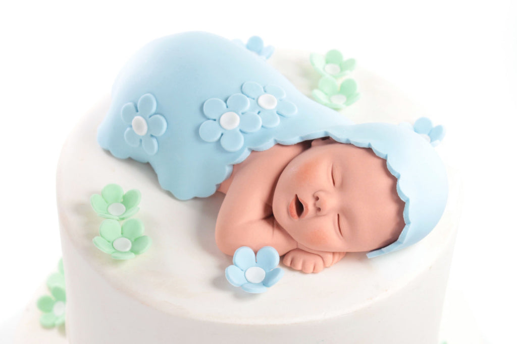 Baby Cake Topper Boy With Blue Blanket And Mint Green Sugar Paste Flowers