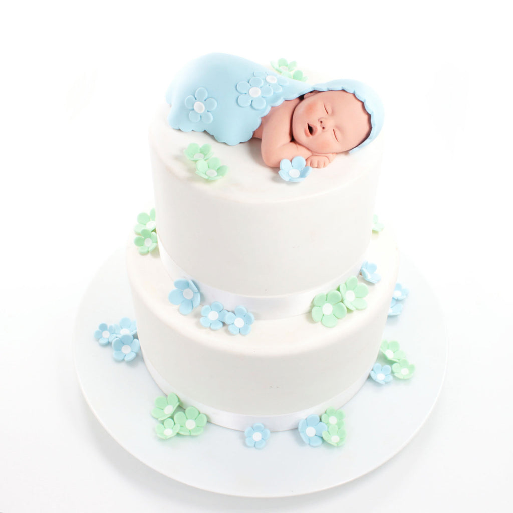 Baby cake topper boy with baby blue blanket and blue mint green suga lil sculpture - Light blue and mint green ...