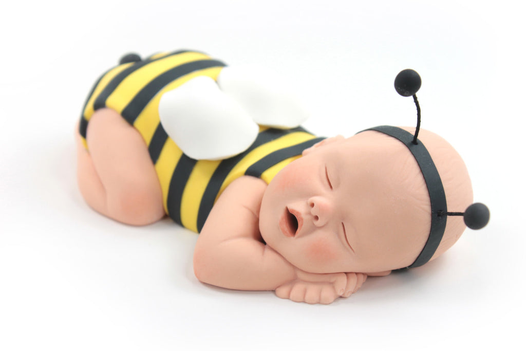 Cute As Can Bee Bumble Baby Cake Topper Yellow Black Sugar Paste For
