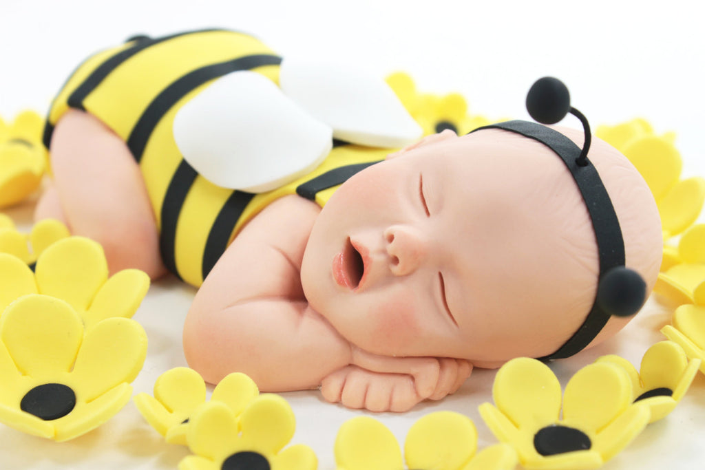 Cute As Can Bee Bumble Baby Cake Topper Flowers Yellow Sugar Paste For