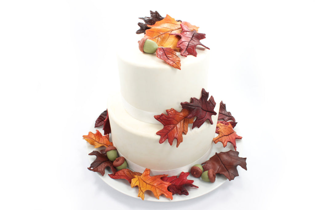 fall leaf wedding cake topper fall leaves amp acorns wedding cake topper sugar paste bold 14147