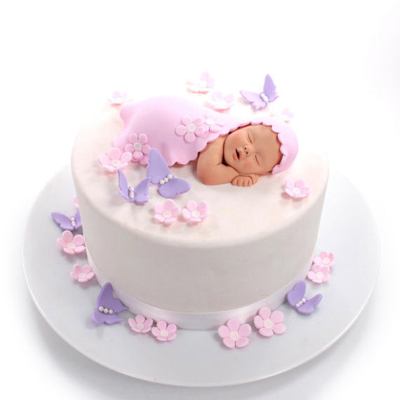 Flower Baby Shower Cake: Baby Girl Cake Topper With Pale Pink Blanket, Pink Flowers