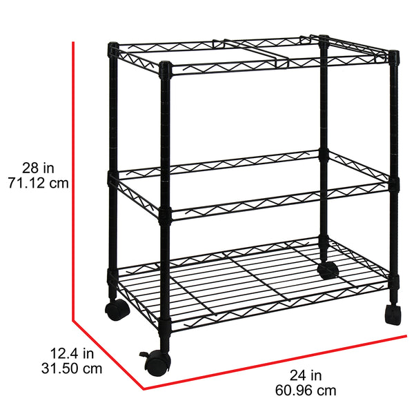 Oceanstar Portable 2 Tier Metal Rolling File Cart Black