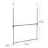 Oceanstar 2-Tier Portable Adjustable Closet Hanger Rod, Chrome ACR1538C
