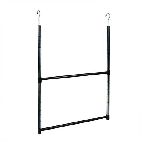 Oceanstar 2-Tier Portable Adjustable Closet Hanger Rod, Black ACR1545B