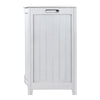 Oceanstar White Finished Bowed Front Laundry Wood Hamper with Interior Bag BHP0106W
