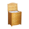 Oceanstar Natural Finished Bowed Front Veneer Laundry Wood Hamper with Interior Bag BHV0100N