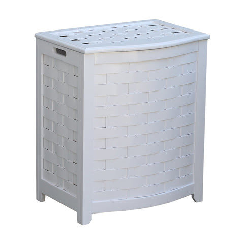 Oceanstar White Finished Bowed Front Veneer Laundry Wood Hamper with Interior Bag BHV0100W