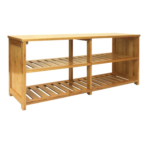 Oceanstar 10-Pair Bamboo Entryway Storage Bench