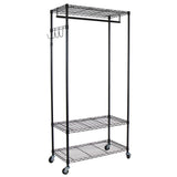 Oceanstar Adjustable Shelving Rack with Hooks, Black GRS1514