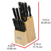 Oceanstar KS1187 Traditional 15-Piece Knife Set with Block, Natural