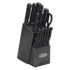 Oceanstar KS1194 Contemporary 15-Piece Knife Set with Block, Elegant Black