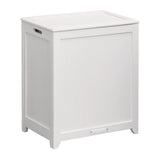 Oceanstar White Finished Rectangular Laundry HPL Wood Hamper with Interior Bag RHP0109W