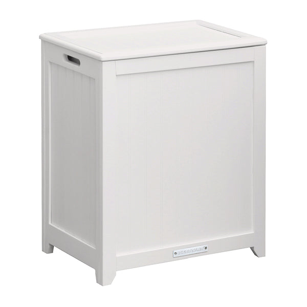 Oceanstar White Finished Rectangular Laundry Wood Hamper With Interior Bag  RHP0109W
