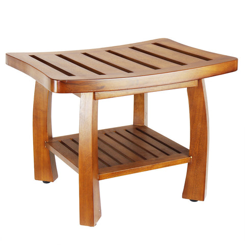 Oceanstar Solid Wood Spa Bench with Storage Shelf, Teak Color Finish SB1521