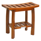 Oceanstar Solid Wood Spa Shower Bench with Storage Shelf, Teak Color Finish SB1682