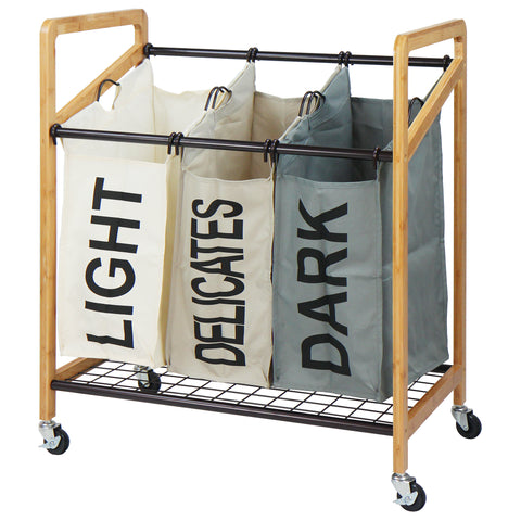 Oceanstar 3-Bag Rolling Cart Laundry Sorter, Bamboo STBS1712-HG-COLOR