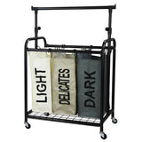 Oceanstar 3-Bag Rolling Laundry Sorter with Adjustable Hanging Bar, Bronze, TLS1385-HG-COLOR