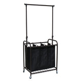 Oceanstar 3-Bag Rolling Laundry Sorter with Adjustable Hanging Bar, Bronze TLS1385