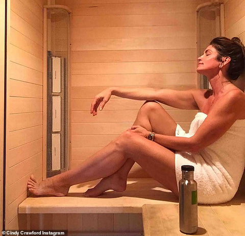 cindy crawford uses infrared sauna as part of wellness routine clearlight sauna