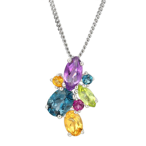 Amore Silver Rainbow Cocktail Necklace