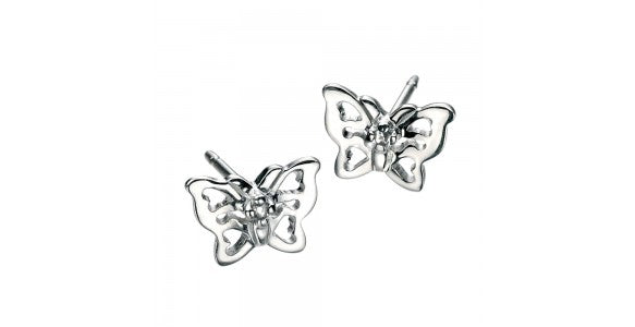 An image of a pair of sterling silver butterfly earrings
