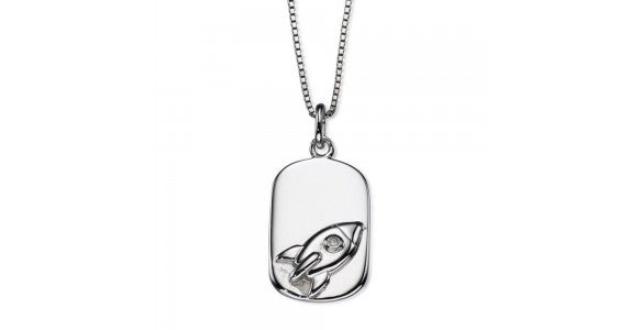 An image of a dog tag necklace with a rocket design
