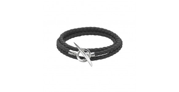 An image of a black braided leather unisex bracelet