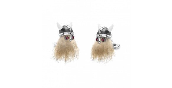 Vicking characterised cufflinks, with synthetic hair and jewelled features