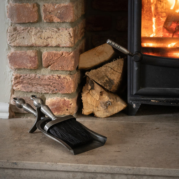 Hearth Tidy Set in Antique Pewter Effect Finish