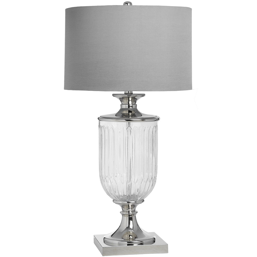 Modern glass urn shaped lamp - Silver base with grey shade