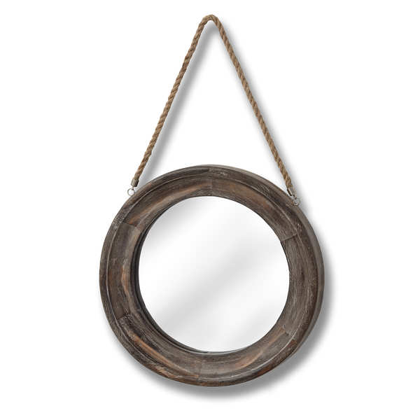 Wooden Frame Rope Hanging Mirror