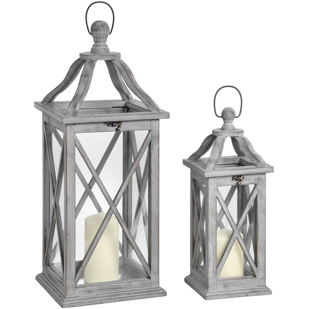 Washed grey shabby chic lantern set of 2