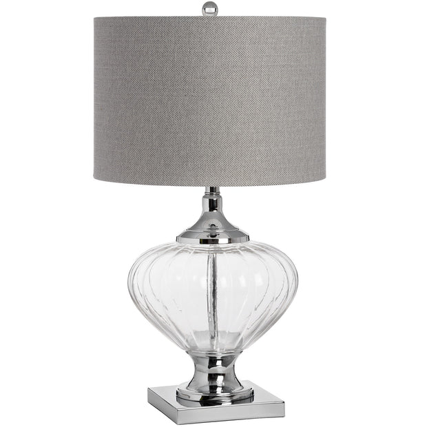 Luxury blown glass table lamp with large drum grey shade