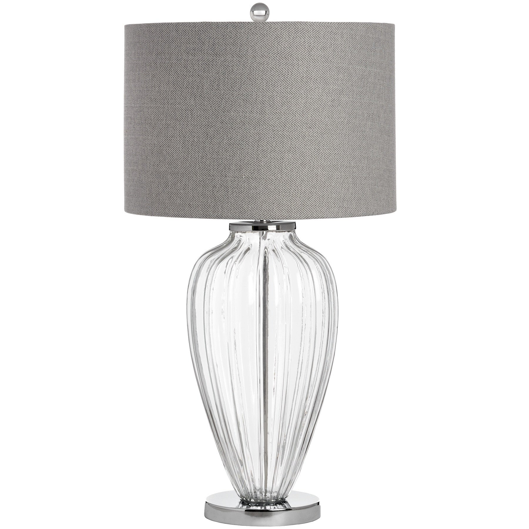 Bologna glass table lamp luxury lighting chosen by jessica clear inline light switch large glass table lamp modern chrome base and contemporary grey light shade mozeypictures Gallery