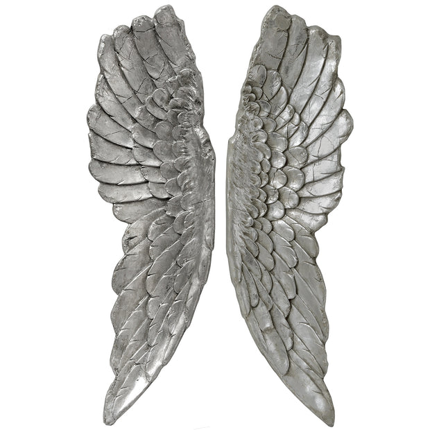 Large Antique Silver Angel Wings